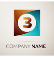 Number three logo symbol in the colorful square on vector image vector image