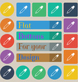 Pipette icon sign Set of twenty colored flat round vector image vector image