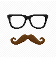 Pixel hipster glasses and mustache vector image vector image