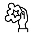 puzzle in hand icon outline style vector image