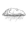 rainy cloud and falling water drop retro vector image vector image