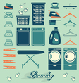 Retro Laundry Room Symbols and Icons vector image vector image