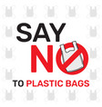 say no to plastic bags sign and symbol an vector image