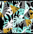 seamless exotic pattern with palm leaf silhouettes vector image vector image