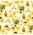 Seamless pattern with Bees Honey vector image