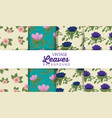 set exotic flowers plants and leaves background vector image vector image