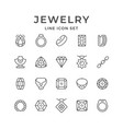 set line icons jewelry vector image vector image