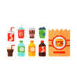 set of cartoon food non alcoholic beverages tea vector image