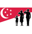 Singapore soldier family salute vector image vector image