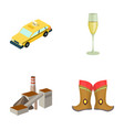 taxi glass of wine and other web icon in cartoon vector image vector image