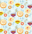 Tea seamless pattern Stylized tea cups plates with vector image vector image