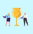 teamwork competition golden trophy win vector image vector image
