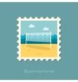 Volleyball net beach sport flat stamp vector image