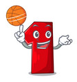 with basketball character number one on the vector image
