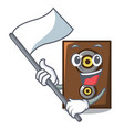 with flag speaker mascot cartoon style vector image
