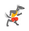 wolf in sport uniform running funny sportive wild vector image vector image