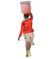 Woman with bucket of water on his head vector image vector image