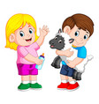 young girl holding baby milk bottle and boy plays vector image vector image
