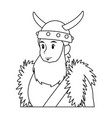 young man viking costume suit halloween vector image