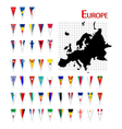 europe flags and map vector image