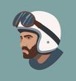 a man in moto helmet flat vector image vector image