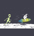 alien catches up with astronaut vector image vector image