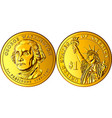 american money gold coin one dollar vector image vector image