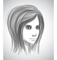 Beauty girl face Pencil sketch portrait imitation vector image vector image