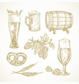 beer sketches set hand drawn vector image