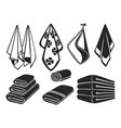black towels set icons bath beach vector image