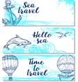 Blue horizontal marine banners vector image vector image