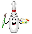 bowling pin with color palette on white vector image