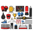 boxing icons kickboxing or mma fight equipment vector image vector image