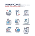 Building and construction line design icons vector image
