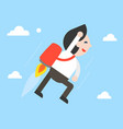 businessman flying with jetpack in sky vector image
