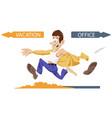 cartoon cheerful businessman runs from office vector image vector image