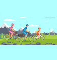 cartoon family riding on bicycles mountains vector image