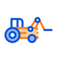 case loader tractor vehicle thin line icon vector image vector image