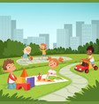 children playing in educational games outdoor vector image vector image