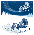 Christmas card with fairy horse vector image vector image