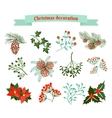 christmas decoration set elements vector image