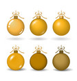 christmas tree ball with gold ribbon bow golden vector image vector image