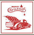 christmas truck red color image old card vector image vector image