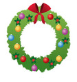 christmas wreath flower bow ball decoration vector image