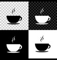 coffee cup icon isolated on black white and vector image vector image