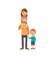 colorful image caricature bearded father with girl vector image vector image