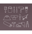 Construction icons working tools and equipment vector image