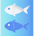 contrast color fish silhouette isolated on blue vector image