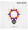 Creative light bulb with industrial concept backgr vector image vector image