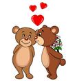 Cute Bear couple kissing vector image vector image